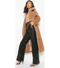 luxe getextuurde faux fur oversized maxi teddy jas, biscuit