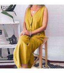 zanzea de las mujeres sin mangas con cuello en v botones del ama de casa larga camisa de vestir vestido a media pierna -amarillo