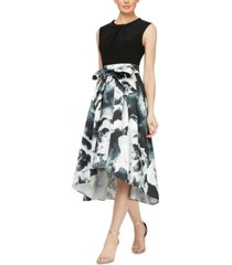sl fashions printed high-low fit & flare dress
