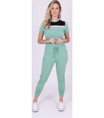 blusa miss misses moletinho com recortes verde - verde - feminino - dafiti