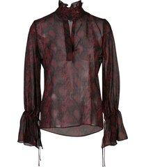 nili lotan demi snake-effect printed blouse - red