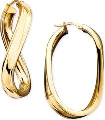 italian gold twisted oval hoop earrings in 14k gold