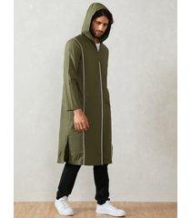 hombre casual cómodo abrigo con capucha color sólido midi longitud capucha