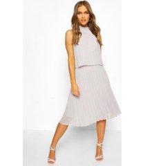 geplooide midi-jurk met dubbele laag en stippen, grijs