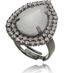 anel carolina alcaide banhado a ródio com microzircônia opal gabi - feminino