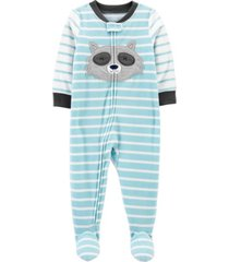 carter's toddler boy 1-piece raccoon fleece footie pjs