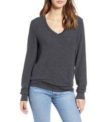 women's wildfox deep v-neck baggy beach jumper pullover, size medium - black