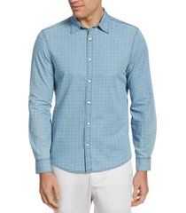 camisa casual denim estampada perry ellis