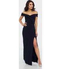 missguided bardot wrap front split maxi dress maxiklänningar