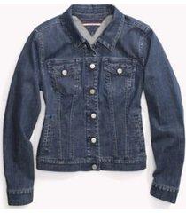 tommy hilfiger women's adaptive classic jean jacket medium wash - xl