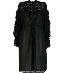 koché ruffled silk shirt dress - black