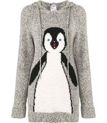 chanel pre-owned 2007 intarsia penguin knit hoodie - grey