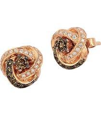chocolatier®14k strawberry gold®, chocolate diamond® & vanilla diamond® knot stud earrings