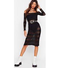 womens stop stripe now mesh midi dress - black