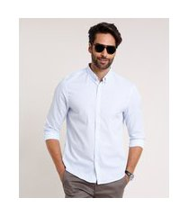 camisa masculina comfort fit estampada xadrez manga longa azul claro