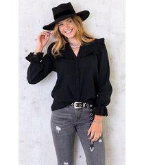 katoenen blouse met kant zwart