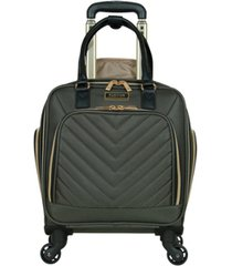 "17"" softside chevron 4-wheel spinner carry-on underseater"