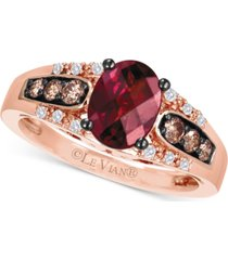 le vian raspberry rhodolite (1-1/3 ct. t.w.), chocolate diamond (1/5 ct. t.w.) and vanilla diamond accent ring in 14k rose gold