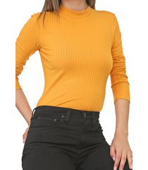 blusa lunender canelada amarela - amarelo - feminino - viscose - dafiti