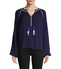 embroidered raglan-sleeve top