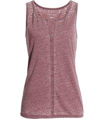 women's caslon split neck burnout tank, size x-small - burgundy
