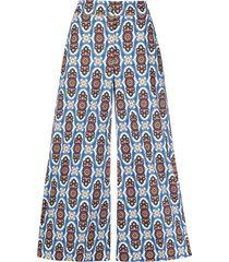 la doublej geometric print high-waisted culottes - blue