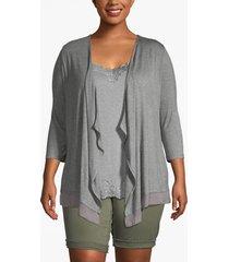 lane bryant women's chiffon-trim drape-front cardigan 22/24 heather gray