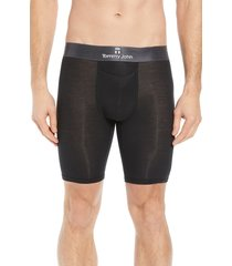 men's tommy john second skin gunmetal waistband boxer briefs, size x-large - black