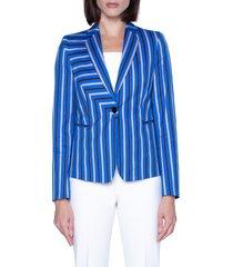 women's akris punto square stripe print stretch cotton blazer