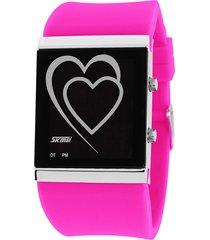 reloj con forma de corazón para hombres y mujeres-rojo
