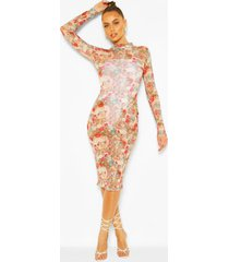 mesh renaissance print high neck bodycon midi dress, brown