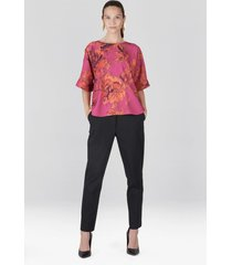 natori tie-dye floral crepe t-shirt top, women's, pink, size m natori