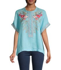 johnny was women's embroidered floral linen top - blue lagoon - size s