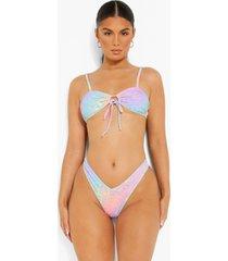 korte luipaardprint bikini top met strik en bandjes, lilac