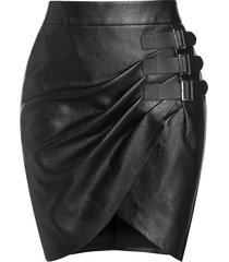 plus size faux leather buckle tulip hem skirt