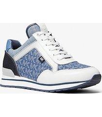 mk sneaker maddy con logo jacquard e denim color-block - denim cangiante (blu) - michael kors