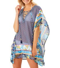 women's tommy bahama sun lilies lace-up cover-up tunic, size large/x-large - blue