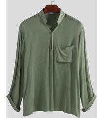 hombres delgado soft algodón casual pecho bolsillo jersey camisa
