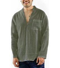 incerun hombre fino soft jersey informal de algodón con bolsillo en el pecho camisa