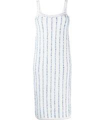 thom browne vertical-stripe midi dress - blue