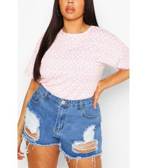 plus mono ditsy floral oversized t-shirt, lilac