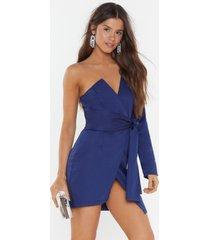 womens keep 'em at arms length one shoulder dress - navy