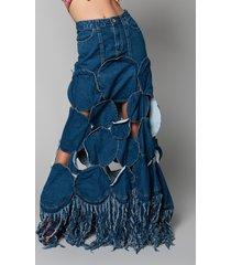 akira get ready to slay cutout denim maxi skirt