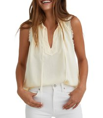women's bella dahl frayed edge sleeveless woven top, size large - yellow