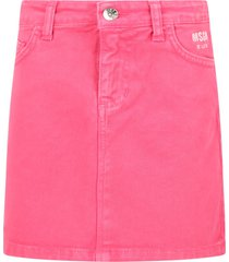 msgm pink skirt for girl with logo