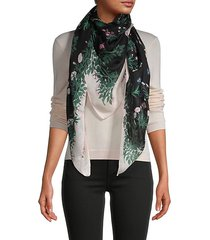 botanical-print silk scarf