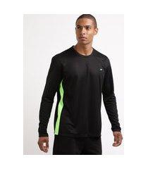 camiseta masculina esporte ace futebol com recortes manga longa gola careca preta