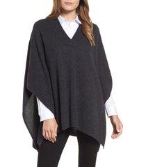 women's halogen cashmere poncho, size one size - blue