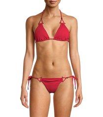 red carter women's ribbed triangle bikini top - brick - size xs