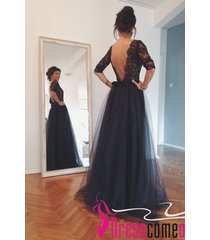 a-line with sleeves lace appliqued bodice tulle skirt long black prom dresses